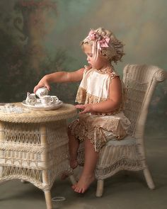 Child wicker chair & table.