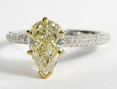 Pear-Shaped Trio Micropavé Diamond Engagement Ring   Engagement ...