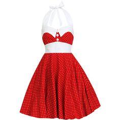 Retro Dress Christmas Dress Disney Dress Red Polka Dot Dress... ($57) ❤ liked on Polyvore featuring dresses, red christmas dress, red cocktail dress, plus size cocktail dresses, prom dresses and plus size christmas dresses