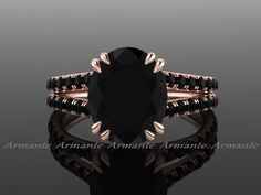 Black Diamond Engagement Ring, Oval Cut, 14K Rose Gold