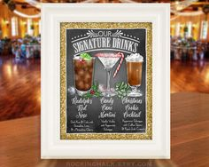 UNFRAMED 11 x 14 Print on High Quality Poster Stock Design a Menu of Beverages with this FEATURED DRINKS SIGN  This Illustrated Sign will have YOUR choice of Three Cocktails Custom-Designed for your Wedding, Rehearsal Dinner, Engagement Party or other Special Event The designs shown in this listing are just examples of what is possible. Upon order, please provide:  1) ) The names of each drink  2) Links to photographs of the drinks online, as reference. This gives me an idea of the colors or…