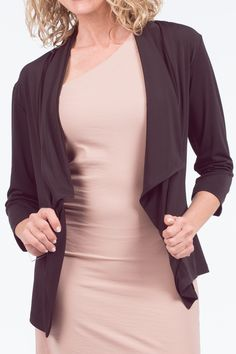 Take your look to the next level with this lapel sleeve jacket. This Jacket is a combination of quality and style. It features an open front, 3 quarter sleeves, and is a breathable fit. Quarter Sleeve, You Look, Fit, Sleeves, Jackets, Tops, Style, Fashion, Down Jackets
