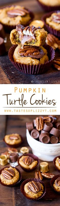 Pumpkin Turtle Cookies on MyRecipeMagic.com. Your favorite chocolate candy dressed up into a pumpkin cookie for the holidays. Pumpkin Turtle Cookies are soft and gooey with a nutty pecan crunch.