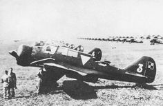 PZL.23A Karaś on the Warsaw Airport. Note lines of PZL P.11 or PZL P.7 fighters in the background.