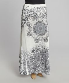 Look what I found on #zulily! Off-White & Black Arabesque Fold-Over Maxi Skirt - Plus #zulilyfinds
