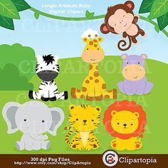 OFF SALE Jungle Animals Baby Digital Clipart / Safari Animals Clip art / Zoo Animals Clipart / For Personal And Commercial Use/ Instant Safari Party, Safari Theme, Jungle Theme, Jungle Safari, Baby Zoo Animals, Safari Animals, Cute Animals, Animal Babies, Monkey Girl
