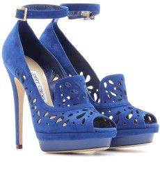 Jimmy Choo - KALAN SUEDE PLATFORM PUMPS WITH PERFORATED DETAIL