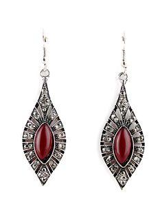 Red Gemstone Retro Silver Hollow Dangle Earrings EUR€4.02