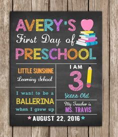 This item is unavailable First Day of School Sign any grade, Back to School Sign Chalkboard,Photo Prop Digital Printable First Day Preschool Sign, 3 Year Old Preschool, Kindergarten First Day, Preschool Boards, First Day Of School Pictures, First Day School, School Photos, School Chalkboard, Chalkboard Signs