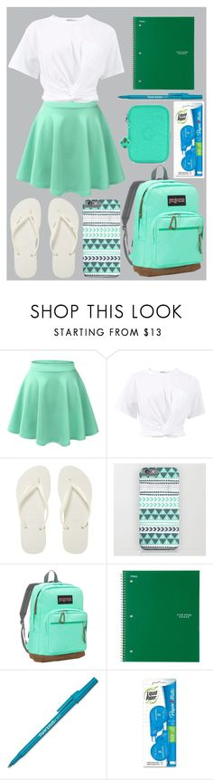 """""""First day of school"""" by ivythegreat on Polyvore featuring LE3NO, T By Alexander Wang, Havaianas, JanSport, Paper Mate and Kipling"""