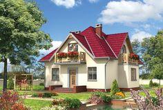 Projekt domu Birkut - elegancki dom z dużymi lukarnami połączonymi z balkonami Home Fashion, Cottage, Mansions, Case, House Styles, Home Decor, Trendy Tree, Balcony, Decoration Home