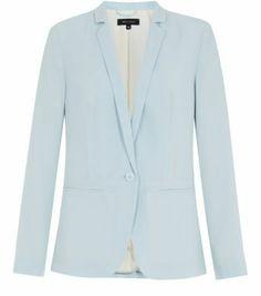 Blue Crepe Longline Blazer