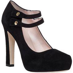 KATE SPADE Nara Black Suede Platform Heel ($99) ❤ liked on Polyvore featuring shoes, pumps, heels, black suede, high heeled footwear, platform shoes, kate spade shoes, platform pumps and black suede shoes