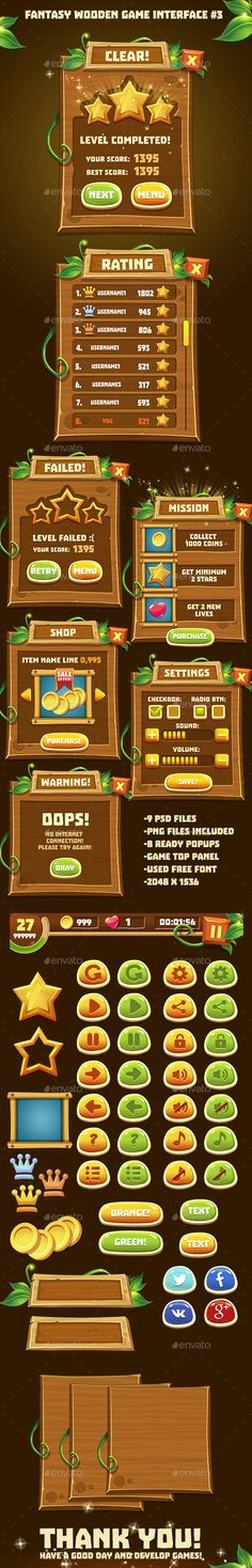 Fantasy Wooden Game Interface Template PSD, Transparent PNG. Download here: http://graphicriver.net/item/fantasy-wooden-game-interface-3/16082586?ref=ksioks