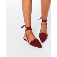 ASOS LIFE OF THE PARTY Lace Up Pointed Ballet Flats ($36) ❤ liked on Polyvore featuring shoes, flats, brown, ballerina shoes, ballet shoes, pointed toe shoes, brown pointy toe flats and pointed-toe flats