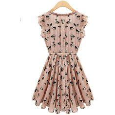 Pink Chiffon Dress$42.00 ($42) ❤ liked on Polyvore