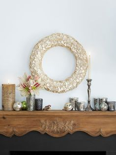 Gorgeous mother-of-pearl button wreath