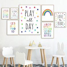 Playroom Design, Playroom Decor, Playroom Ideas, Art Wall Kids, Nursery Wall Art, Childrens Wall Art, Alphabet Wall Art, Alphabet Nursery, Wal Art