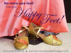 NO MORE SORE OR SILLY FEET! How I Turned My Shoe Blues into Happy Feet. >>> Have you ever been invited to dance but declined because you didn't have suitable shoes? Or maybe you accepted but felt awkward because your shoes fell off, hurt your feet, or just didn't look right with your outfit? I know how this feels, and I'm happy to tell you I've found a solution. http://boutiquenarelle.blogspot.co.nz/2014/09/no-more-sore-or-silly-feet-how-i-turned.html