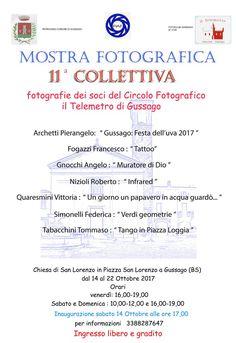 """Sabato 14 ottobre inaugurazione mostra fotografica collettiva soci """"Il Telemetro"""" - http://www.gussagonews.it/inaugurazione-mostra-fotografica-collettiva-soci-telemetro-ottobre-2017/"""