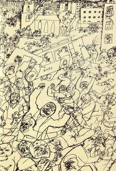George Grosz | George GROSZ. Pandemonium , 1914, encre de Cine, 47 X 30,5, collection ...