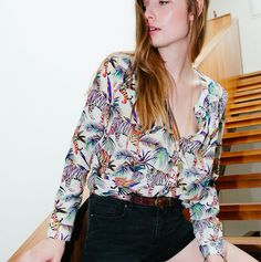 Tropical tiger print silk shirt. Now in store at Hero Stockbridge. Spring style.