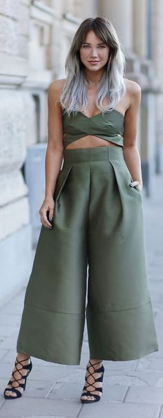 Madelene Billman Green Wide Leg Pant Set Fall Inspo. Love the top but not so sure about the pants. I wish they were this fabric but looked more like joggers or skinny jeans