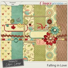 """FREE The Ginger Scraps 6th B-Day """"Falling In Love"""" Facebook Hop From Designs by Colie's Corner [ Tons of freebie ]"""