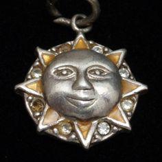 Sun Face Charm Vintage Sterling Silver Enamel | eBay