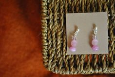 Handmade earrings light pink crystal and cat's by ATouchOfJewels, $17.00