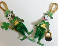 St Patricks by jwgcreations on Etsy St Paddys Day, St Patricks Day, Pipe Cleaner Crafts, Pipe Cleaners, Chenille Crafts, St Patrick's Day Crafts, Christmas Ornaments To Make, Jack Russell Terrier, Vintage Valentines