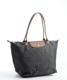 Longchamp grey nylon 'Le Pliage' large shopper tote