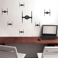 Tie Fighter Bedroom Kit Decals _ Star Wars Wallpaper Murals _ Darth Vader Fighter Wall Designs _ DIY Star Wars Decals _ Trendywalldesigns