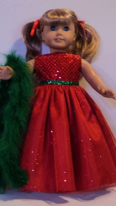 American Girl Doll Clothes - Christmas Gown & Boa. $17.00, via Etsy.