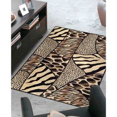 Admire Home Living Virginia Animal Print Area Rug (7'9 x 11'), Beige, Size 7'9 x 11' (Olefin, Abstract)