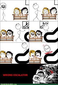Escalator flirting me gusta poker face rage comics raisin rage - 6257651456 Wtf Funny, Stupid Funny, Funny Cute, Funny Memes, Hilarious, Funny Stuff, Awesome Stuff, Derp Comics, Funny Comics