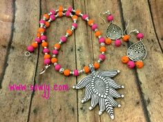 German Silver Pendant set with Clay Beads in Pink and Orange Shades!!!!   Sowjy - The Online Jewelry Store