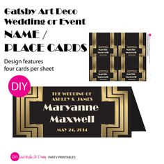 Gatsby / Art Deco Wedding or Event NAME / PLACE CARD - Black and Gold