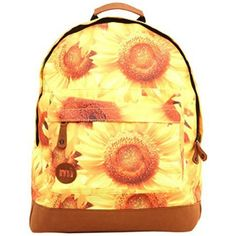 - Mi-Pac Backpack sunflowers, unisex - Custom logo in the upper - Fixed handle - Two adjustable straps - Two outside pockets with zipper - Zipper closure in the upper Sunflower Print, Yellow Sunflower, Pouch, Wallet, Canvas Backpack, Ss 15, Custom Logos, Thing 1, Backpacks