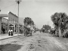 """Daytona Beach, Florida, circa 1906. """"Beach Street, with souvenir shops."""" Digitally enhanced by Shorpy.com http://www.shorpy.com/node/13606"""