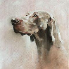 Weimaraner oil on canvas by Julie Brunn
