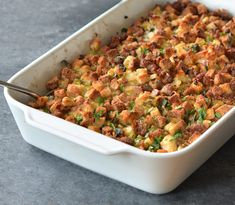 TESTED & PERFECTED RECIPE - This savory sausage & herb stuffing uses store-bought stuffing cubes, eliminating the step of slicing and drying out the bread. Thanksgiving Stuffing, Thanksgiving Sides, Thanksgiving Recipes, Holiday Recipes, Hosting Thanksgiving, Holiday Meals, Thanksgiving Casserole, Thanksgiving Dressing, Christmas Recipes