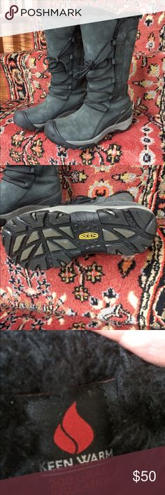 """Keen waterproof insulated winter boots Excellent condition Keen waterproof winter boots with 200 g insulation.  Boots are pull on with laces. Calf width is very adjustable because of the laces, so they actually fit over my snow pants. Shaft height is about 13"""". Keen Shoes Winter & Rain Boots"""