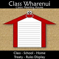 New Zealand Resources: Wharenui Meeting House for Class Treaty Rules Classroom Rules, Classroom Resources, Classroom Decor, Teaching Resources, Treaty Of Waitangi, Waitangi Day, Class Meetings, House Template, Maori Designs