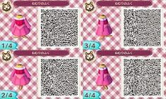 """From """"Animal Crossing New Leaf"""" on This is clothes of Wakaba+Sweater+Apron. This QR code was m. Animal Crossing:My Pattern 33 Qr Code Animal Crossing, Animal Crossing Qr Codes Clothes, Acnl Qr Codes Dresses, Aurore Disney, Robes Disney, Motif Acnl, Leaf Man, Ac New Leaf, Happy Home Designer"""