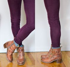How to: socks with booties - JUST A PEEK! If the bunched look is a bit too bold for you, try wearing shorter socks and just letting the top of them peek out of your boots. It's a less bulkier look that I'd recommend as to not distract from the rest of your outfit. Be sure to tuck your jeans into your socks here as well.