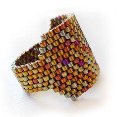 Glass Ring in Bronze Delicas Beads Magical by dicopebisuteria, $18.00