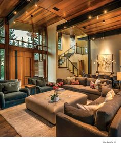 Arrigoni Woods - Tahoe Mountain home project featured in Tahoe Quarterly Magazine 2016 Dream Home Design, Modern House Design, Home Interior Design, Modern Cabin Interior, Living Room Interior, Home Living Room, Living Room Designs, Casa Clean, Open Space Living