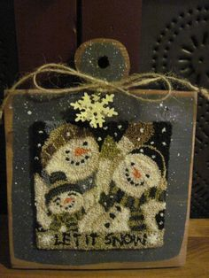 "Primitive Punchneedle Snowman ""Let it Snow"" on  Wood Hornbook #PrimitiveFolkArt"