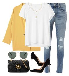 """""""Untitled #3158"""" by elenaday ❤ liked on Polyvore featuring MANGO, rag & bone, Gap, Gianvito Rossi, raen, Gucci and Missoma"""